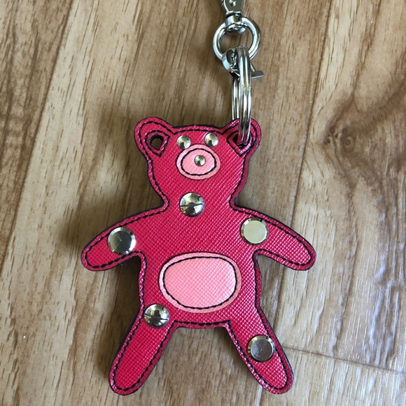 ee2b45c9d18bc8 Prada Accessories | New Leather Bear Keychain Bag Charm Red Pink ...